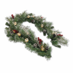 Equinox 2 WFC-5X15-612 LED Artificial Pine Garland, Winter Frost, Battery-Operated, 12-In. x 6-Ft.