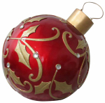 Reson Enterprises 16069 Oversized Christmas Ornament, LED-Lights, Red & Gold, 24-In.