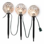 Noma/Inliten-Import V23083-88 Christmas Pathway Markers, Silver Balls, 11.5-In., 3-Pc.