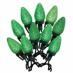 Noma/Inliten-Import 47661-88A Christmas LED Light Set, C9, Green, Faceted, 25-Ct.