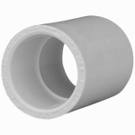 Genova Products 30107 PVC Pressure Pipe Fitting, Coupling, White PVC, 3/4-In.