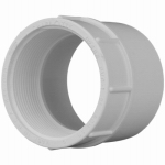 Genova Products 30314 PVC Pressure Pipe Fitting, Female Adapter, White PVC, 1-1/4-In.