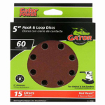 Ali Industries 4144 Sanding Discs, Aluminum Oxide, Red Resin, 60-Grit, 5-In., 8-Hole, 15-Pk.