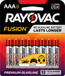 "Spectrum/Rayovac 824-8TFUSJ Fusion Advanced ""AAA"" Alkaline Battery, 8-Pk."