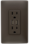 Pass & Seymour TM826USBDBCCV4 USB Charger With Duplex Receptacle, 2-Port, Dark Bronze 15-Amp