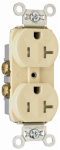 Pass & Seymour TR20ICC8 Duplex Receptacle, Tamper-Resistant, Ivory, 20-Amp, 125-Volt