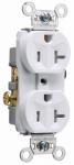 Pass & Seymour TR20WCC8 Duplex Receptacle, Tamper-Resistant, White, 20-Amp, 125-Volt