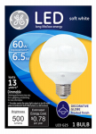 G E Lighting 37945 LED Light Bulb, G25, Medium Base, 6.5-Watt
