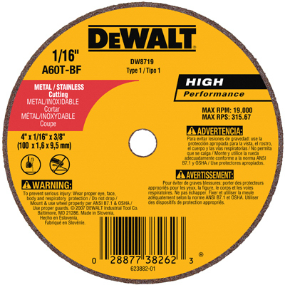 QTY 25 Dewalt Accessories DW8719 Small Diameter Cutoff Wheel 4 x 1//16  x 3//8/""