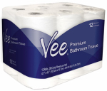 Oasis Brands 21108 Vee  12 Pack Premium Bath Tissue 286 2-ply sheets per roll