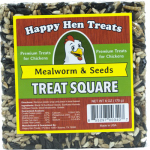 Happy Hen Treats 17087 Poultry Treats, Mealworm & Seed Squares, 6-oz.