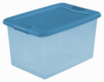 Sterilite 14974406 Storage Box With Latch Lid, Blue Tint, 64-Qts., Must Purchase in Quantities of 6