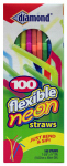 Jarden Home Brands 41426-34158 Drinking Straws, Flexible, Neon, 100-Ct.