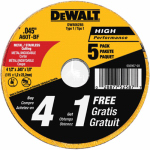 Dewalt Accessories DW8062B5 Metal/Stainless Cutting Wheel, 4.5 x .045-In., 5-Pack