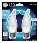 G E Lighting 17842 LED Light Bulb, Candle Shape, Medium Base, Frosted, 7-Watt, 2-Pk.