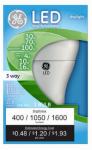 G E Lighting 92118 3-Way LED Light Bulb, Daylight, 4/10/16-Watt