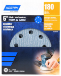 Ali Industries 50155-038 8-Hole Ceramic Sanding Discs, 180 Grit, 5-In., 15-Pk.