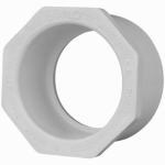 Genova Products 30250 PVC Pressure Pipe Fitting, Reducer Bushing, White PVC, 1-1/2 x 1-In.
