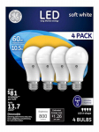 G E Lighting 88733 LED Light Bulbs, A19, Medium Base, White, 10.5-Watt, 4-Pk.