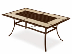 Letright Industrial 724.017.003 Concord Slat-Top Dining Table, Ceramic & Steel, 67 x 40-In.