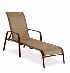Letright Industrial 751.015.000 Concord Sling Chaise Lounge Chair, Brown Steel & PVC
