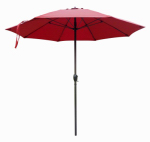 March Products ATAF908117-F3048 Patio Market Umbrella, Aluminum Frame, Red Olefin, 9-Ft.