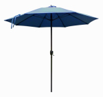 March Products ATAF908117-F52 Patio Market Umbrella, Aluminum Frame, Sapphire Blue Olefin, 9-Ft.
