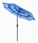 March Products ECO908D709-P201 Patio Market Umbrella, Steel Frame, Blue Stripe Polyester, 9-Ft.
