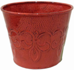 Robert Allen MPT01889 Fleur De Lis Metal Planter, Red, 6-In.