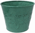 Robert Allen MPT01890 Fleur De Lis Metal Planter, Blue Surf, 6-In.