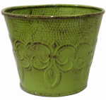 Robert Allen MPT01891 Fleur De Lis Metal Planter, Tansy Green, 6-In.