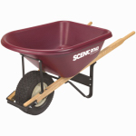 Scenic Road Mfg M6-1T Heavy-Duty Poly Wheelbarrow,  4-Ply Turf Tire, Maroon, 6-Cu. Ft.