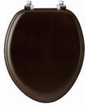 Bemis Mfg 19601CP 888 Elongated Natural Reflections™ Veneer Toilet Seat, Chrome Hinge, Walnut