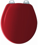 Bemis Mfg 30CHSL 613 Round Molded Wood Toilet Seat, Chrome Whisper-Close  Hinge, STA-TITE , Red