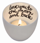 "Creative Co Op DA4455 Tealight Holder, ""Love You"", Ceramic, 3-In."