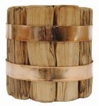 Creative Co Op DA4467XTV Pillar Candle Holder, Wood, 4.75-In.