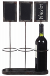 Creative Co Op DE7297TV Wine Holder With Chalkboard Signs, 17-3/8-In.