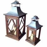 Smart Solar 84079-LC2 Wood Lantern, 2-Pack