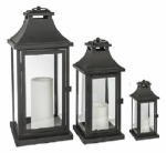 Sterno Home GL28647BK Lantern, Black, 3-Pack