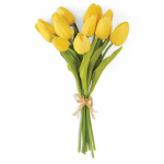 K&K Interiors 11399A-YE Real Touch Artificial Flowers, Mini Yellow Tulips