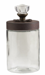 K&K Interiors 12223B Jar, Glass With Metal Lid, 9-In.