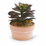 K&K Interiors 12352B Faux Greenery, Potted Purple Succulent, 5-In.