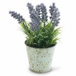 K&K Interiors 12361A Faux Greenery, Potted Purple Lavender, 9-In.