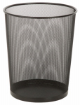 Honey Can Do Intl TRS-02102 Metal Wastebasket, Black Mesh, Round, 4.8-Gal.