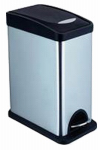 Honey Can Do Intl TRS-06309 Step Trash Can, Stainless Steel, Rectangle, 2.1-Gal.
