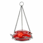 Natures Way Bird Products MHF4 Hummingbird Feeder With Perching Ring, Red Crackle Glass