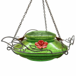 Natures Way Bird Products MHF5 Hummingbird Feeder With Perching Ring, Green Crackle Glass