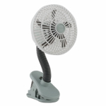 O2cool FC04001 Personal Clip Fan, Battery-Operated, White & Gray, 4-In.