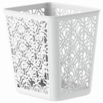 United Solutions SR0351 Trellis Wastebasket, White, 4-Gal.