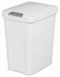 Sterilite 10438004 7.5 Gallon - 28 Liter Touch Top Wastebasket - White with Gray Latch